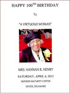 Hannah Henry 100th